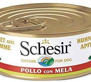 Schesir, Comida húmeda para Perros Adultos, Sabor Pollo con Manzana