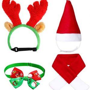 4 Piezas Sombrero Bufanda de Santa Navidad de Gato Perro