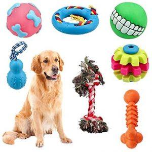 FUSIYU Grupo de Juguetes para Perros 7 Piezas, Juguete Masticable