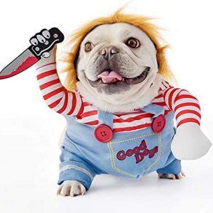 FayTun Disfraz de muñeca Mortal para Perro, Disfraz de Halloween