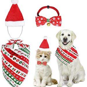 MELLIEX 3 Piezas Disfraces Navidad para Gatos Perros con Collares