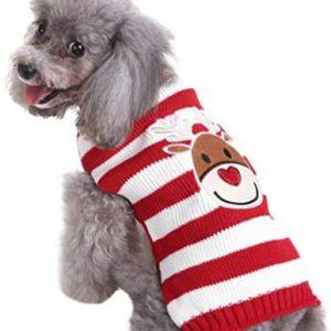 POPETPOP Jersey para perros de Navidad, jersey de punto para