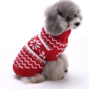 Tuopuda Navidad Mascotas suéter Invierno Perro Nieve Lana del Perrito