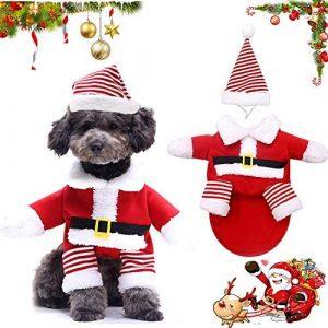 WELLXUNK® Disfraz de Papá Noel de Pet, Disfraz de Navidad