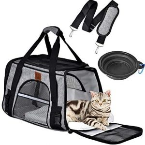 Queta Transportín Perro Gato, Bolsa de Transporte para Mascotas Plegable