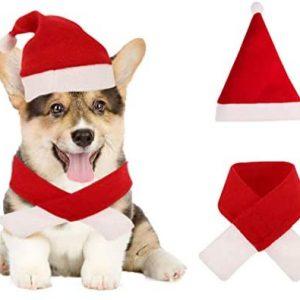 ETHEL Disfraz de Navidad para Mascotas, Sombrero Bufanda de Santa